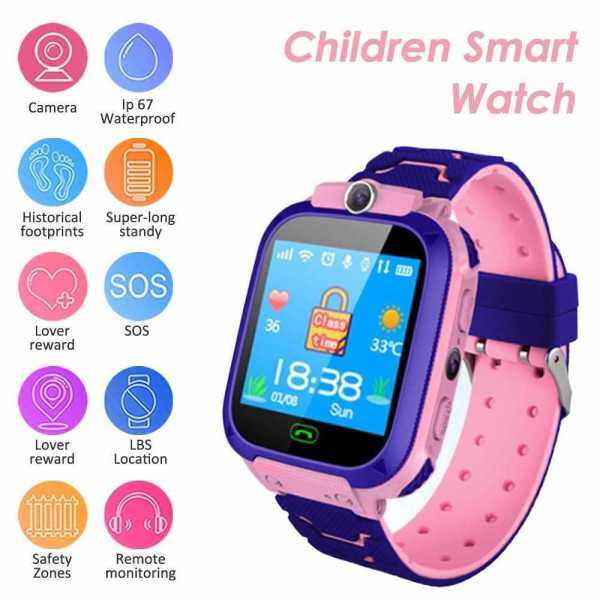 S12B Multifunctional Kids Children Smart Watch Tracker Intelligent Band Sensitive 1.44 Touch Screen Compatible for Android/ IOS Phone System Chat Call Camera Alarm Clock LBS Positioning for Present Gift (Pink) Malaysia