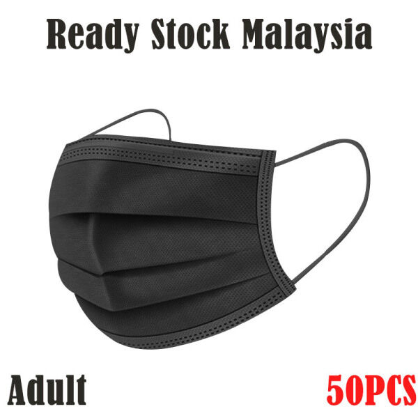 [Ready Stock Malaysia] Black Color Adult Disposable Face Mask 3ply 50pcs