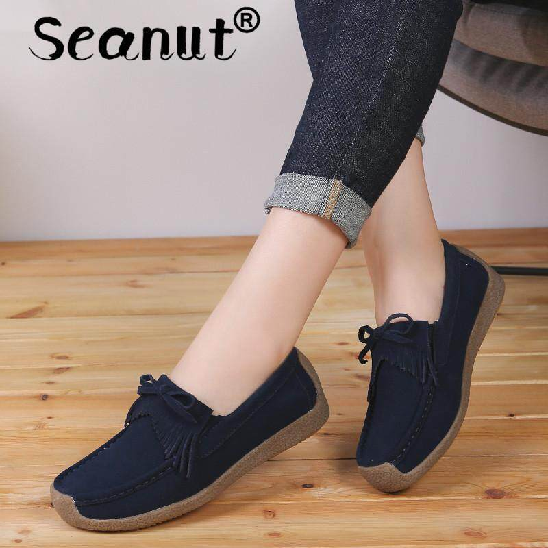 Seanut Women Moccasins Women's Flats Genuine leather Shoes Woman Lady Loafers Slip On Suede Shoes