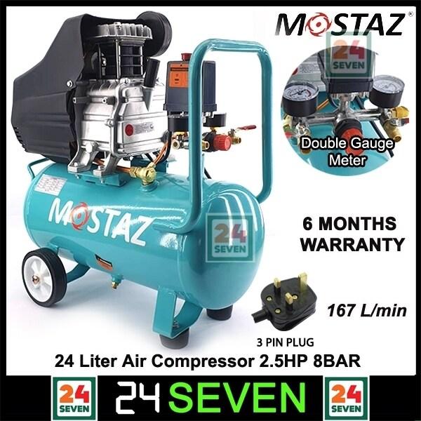 [ READY STOCK ] MOSTAZ Air Compressor 2.5hp 24 Liter With Pressure Meter Gauge / Warranty 6 Months