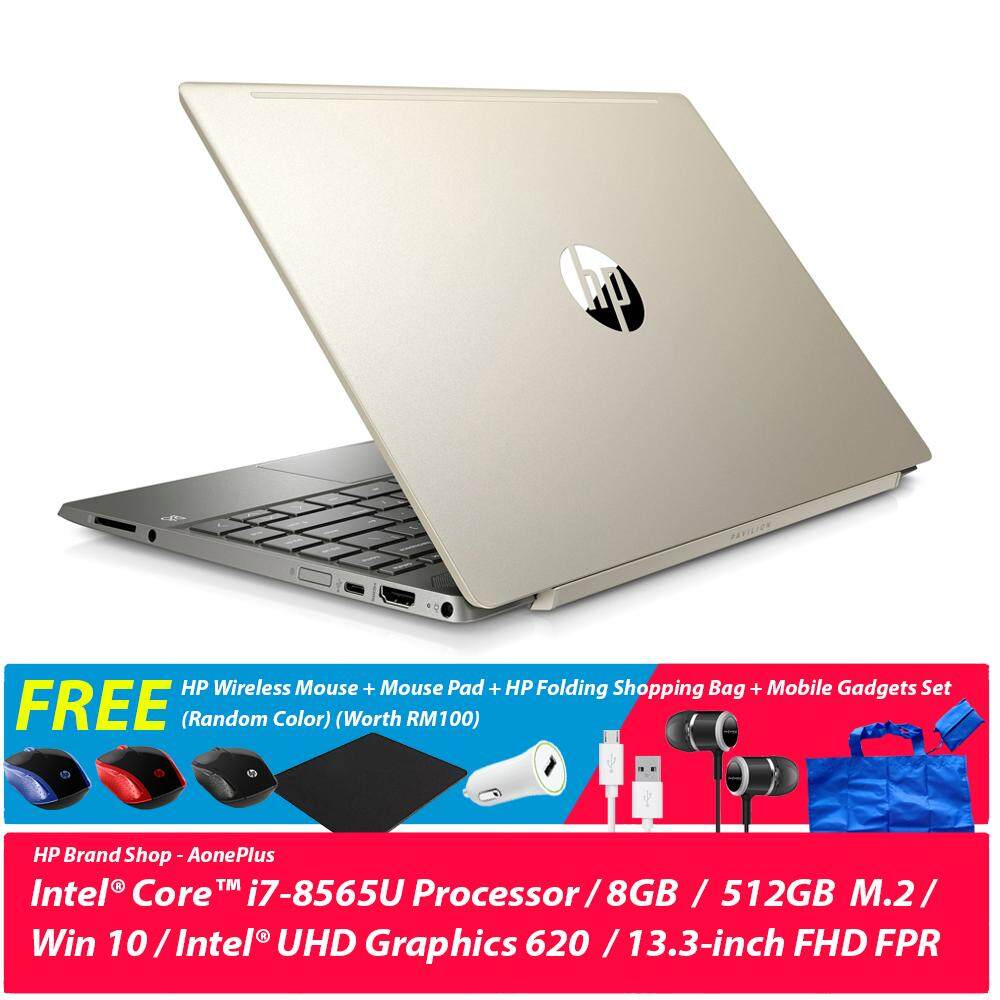 HP Pavilion 13-an0010tu Notebook Pale Gold 5HF06PA /i7-8565U/ 8GB/ 512GB M.2 SSD/ 13.3-Inch/ Win 10+ Free HP Wireless Mouse + Mouse Pad + HP Folding Shopping Bag + Mobile Gadgets Set (Random Color) (Worth RM100) Malaysia