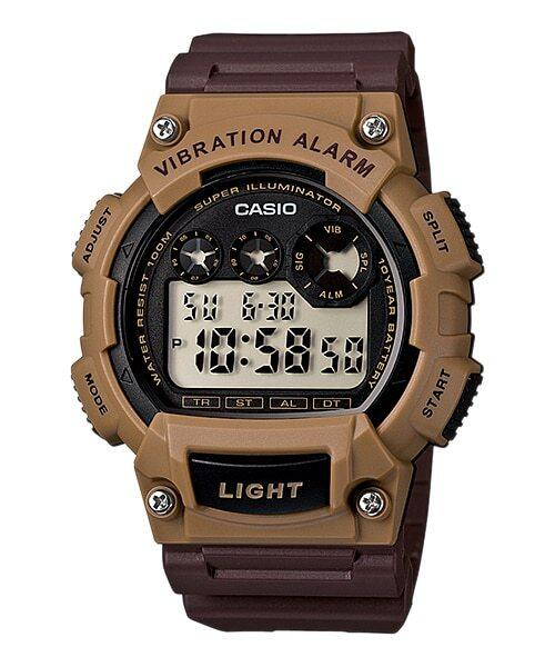 Casio Mens Digital Vibration Illuminator Brown Watch W-735H-5A Malaysia