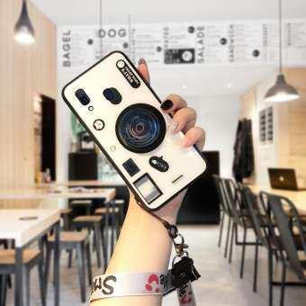 สำหรับ Samsung A30 A20 3D ฝาครอบเลนส์กล้องสายคล้องสายคล้องผู้ถือ Smooth กระจกเทมเปอร์กลับเคสโทรศัพท์ (เลนส์ POP + สุ่มสายคล้อง)-