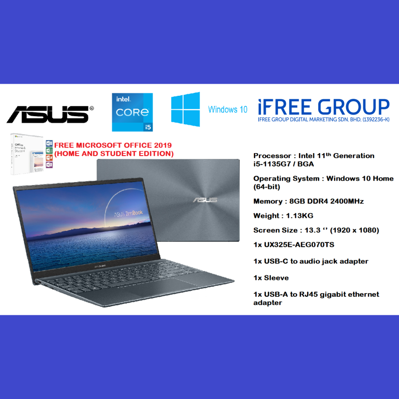 ASUS Zenbook 13 UX325 Working Laptop - Pine Grey | Intel Core i5-1135G7/BGA Processor + Digital Numeric Pad [ UX325E-AEG060TS ] 8GB RAM + 512GB SSD Malaysia