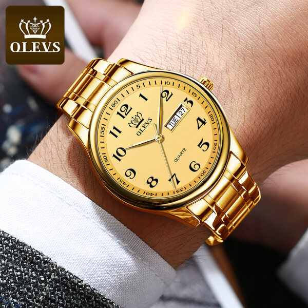 OLEVS Original authentic mens watch Waterproof luxury fashion atmosphere stainless steel strap Wear-resistant scratch-resistant luminous date Malaysia