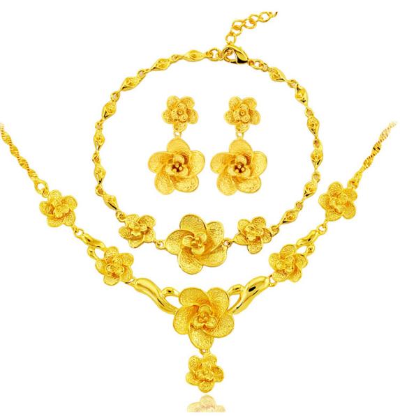 Bộ Trang Sức 24K Dubai Màu Vàng Đám Cưới Cho Phụ Nữ Vòng Cổ Bông Tai Vòng Tay Quà Tặng Cô Dâu Collares Bộ Trang Sức