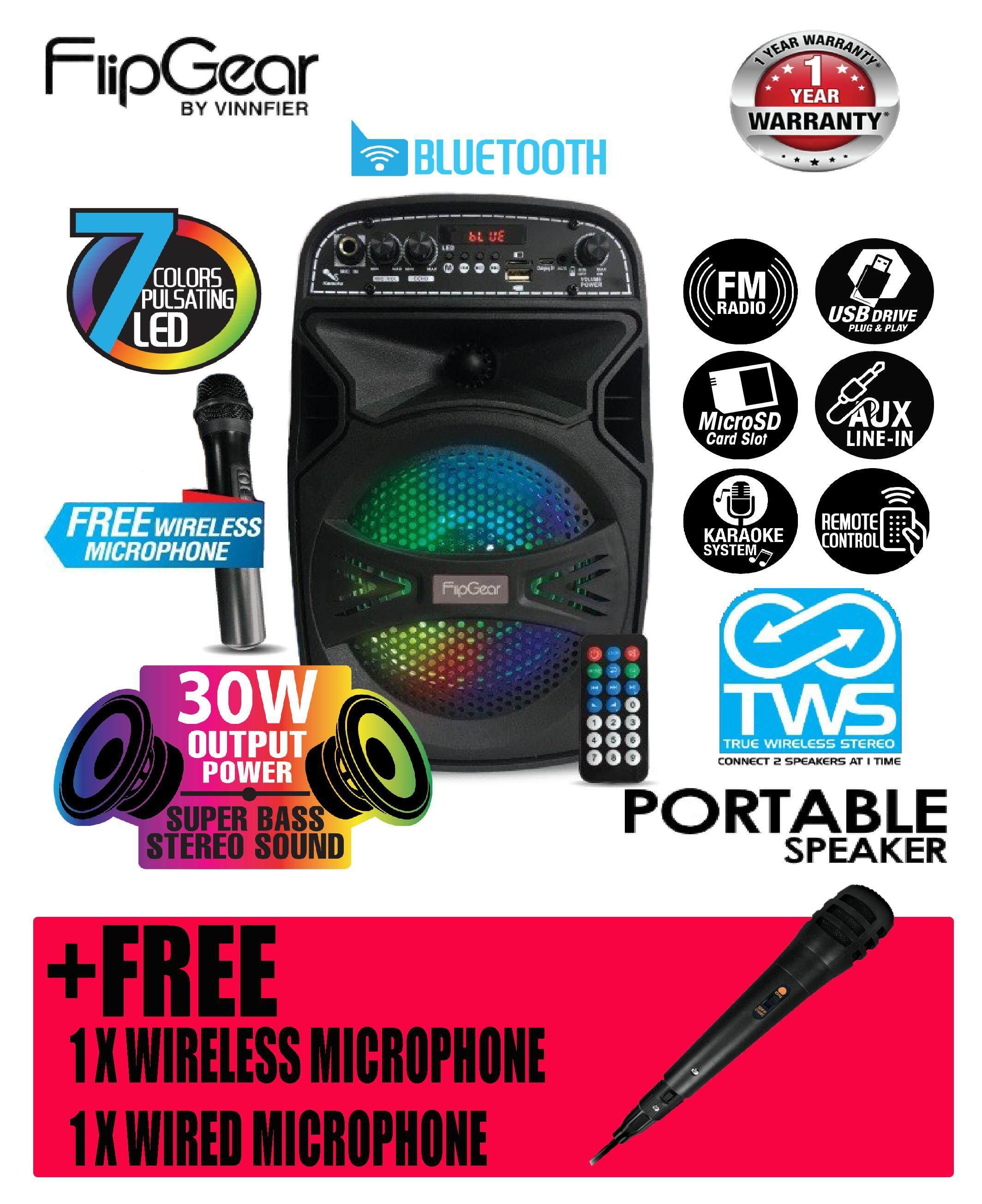 (2019) Vinnfier FlipGear Tango 210 WM Bluetooth TWS Portable Speaker Karaoke system With Wireless Microphone Tango 210wm