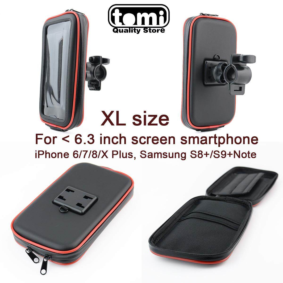 Universal Bike Phone Mount Motorcycle Bicycle Mount Handlebar Holder Bag (Size:XL) Waterproof Phone Case with Access Hole and Card Slots for Smartphone & GPS device Screen size < 6.3inch Huawei P20 Mate 20 Samsung Galaxy Note 9 iPhone 7/8 Plus