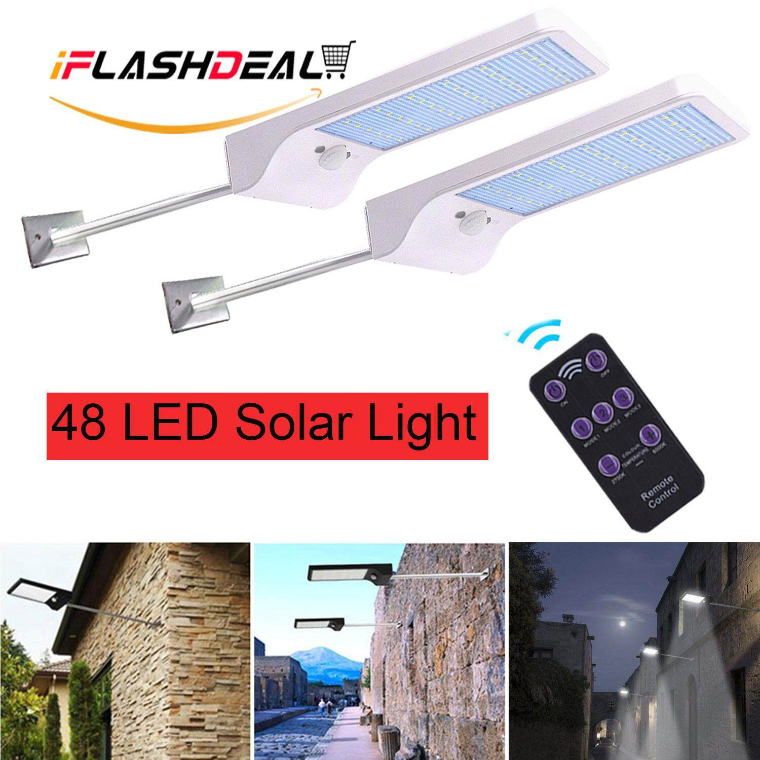 iFlashDeal Upgraded 48 LED Solar Light Outdoor Lighting Waterproof Motion Sensor Light Mounting Pole Garden Light with Remote Control 【2 Pack】