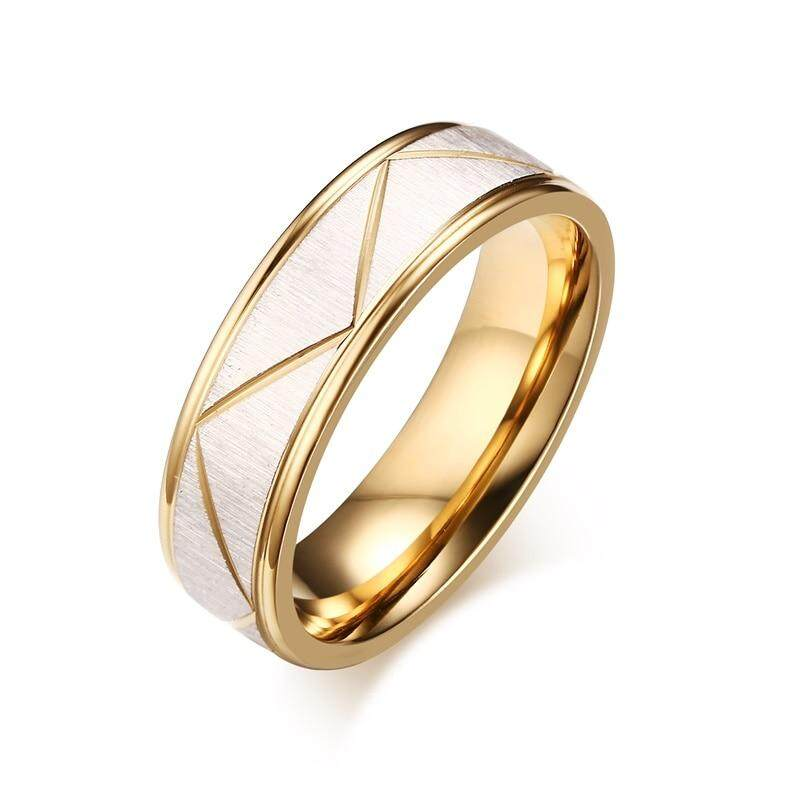 VNOX anillos de boda por amor acabado mate de acero inoxidable de Color oro de hombres