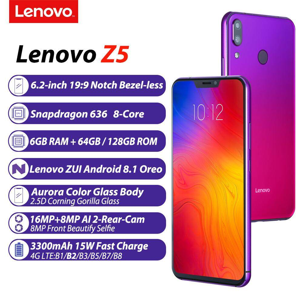 Presale Lenovo Z5 Notch Bezel-less Mobile Phone 6 2inch 19:9 Full Screen  6GB 64GB Snapdragon 636 Octacore Android 8 1 Oreo Glass Body 16MP AI dual
