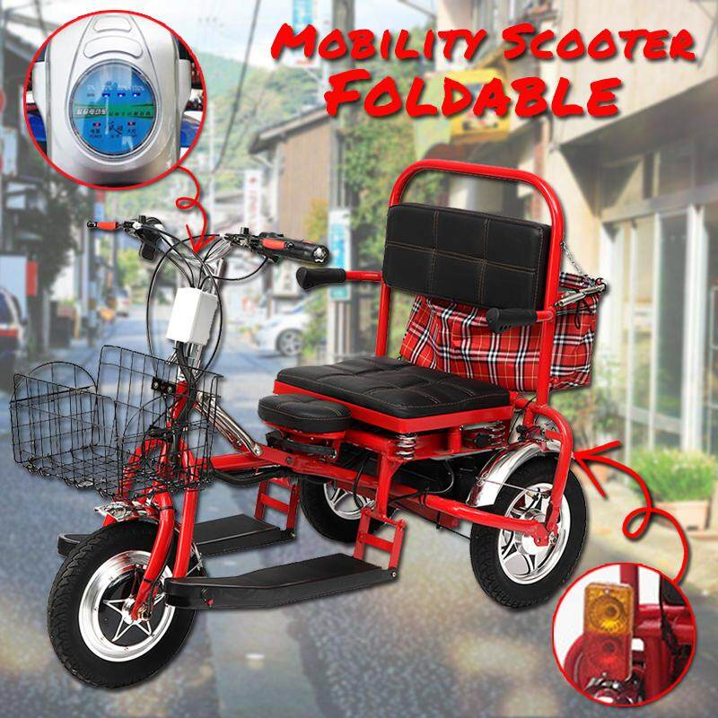 Mobility Scooter Foldable Electric Tricycle Elderly Scooter Steel Structure Body By Lightyourhome.