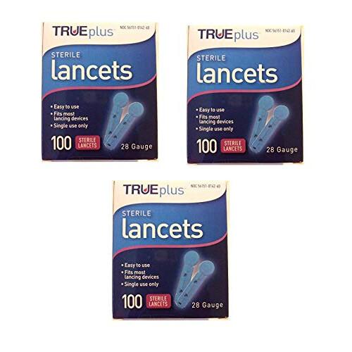 True Plus TruePlus Sterile Lancets, 28 Guage, 3 Boxes of 100 (300 Total)