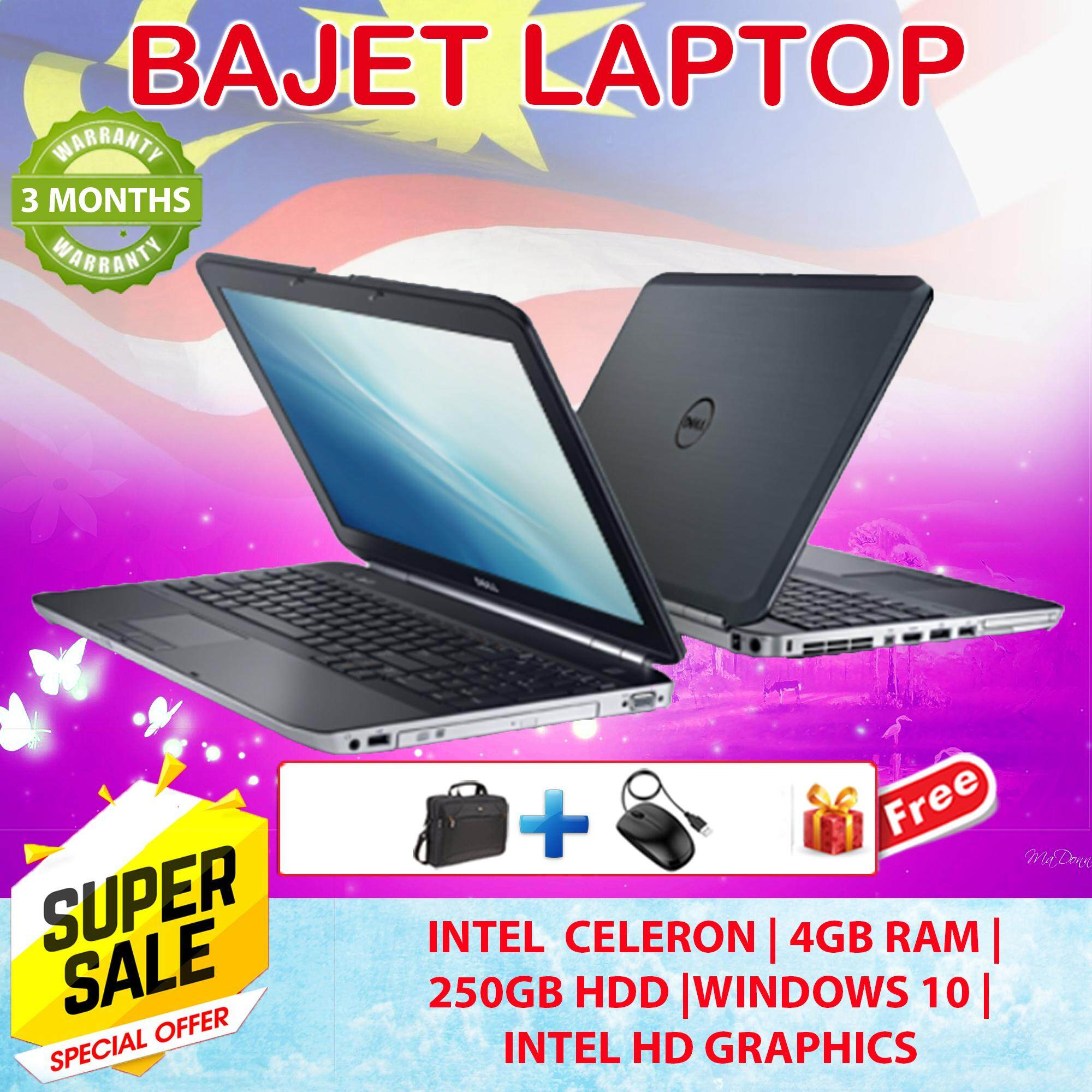DELL E5520 Celeron-B840 4GB 250GB  DVD 3 Months Warranty - Free Bag + Mouse - Factory Refurbished Student Bajet Laptop Malaysia