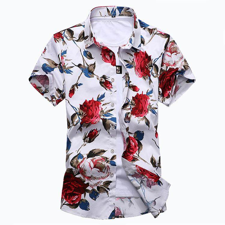 702d9bae New Summer Fashion Mens Shirt Slim Fit Short Sleeve Floral Shirt Mens  Clothing Trend Plus Size