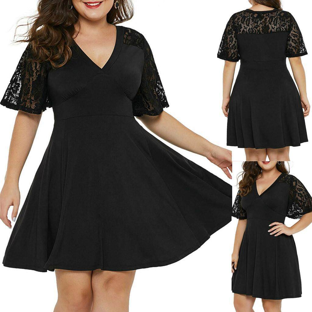 c9bff293cd1b Fashion Women Plus Size Casual Solid V-Neck Short Sleeve Lace A-Line Swing
