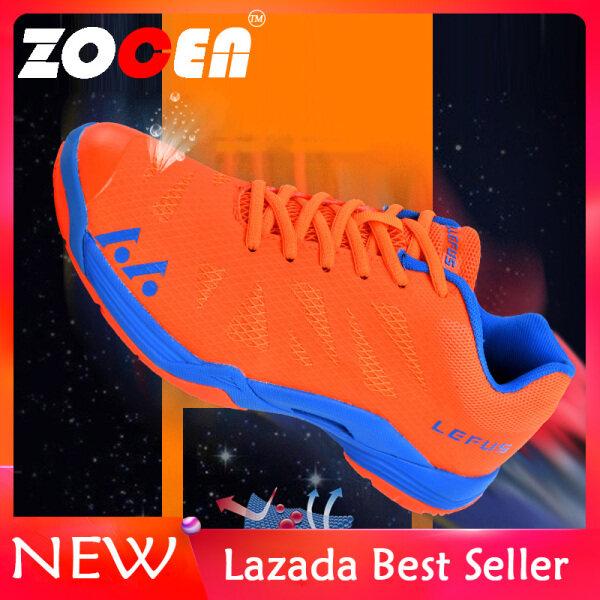 Giày thể thao nam ZOCEN chất liệu da phối lưới thoáng khí dùng đánh cầu lông, đi bộ đường dài - INTL