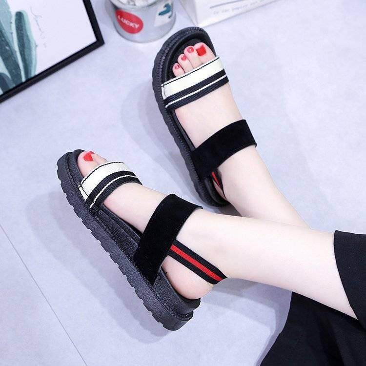 ebd535b75 2019 summer Korean version of the new college wild flat-bottom Roman sandals  student shoes