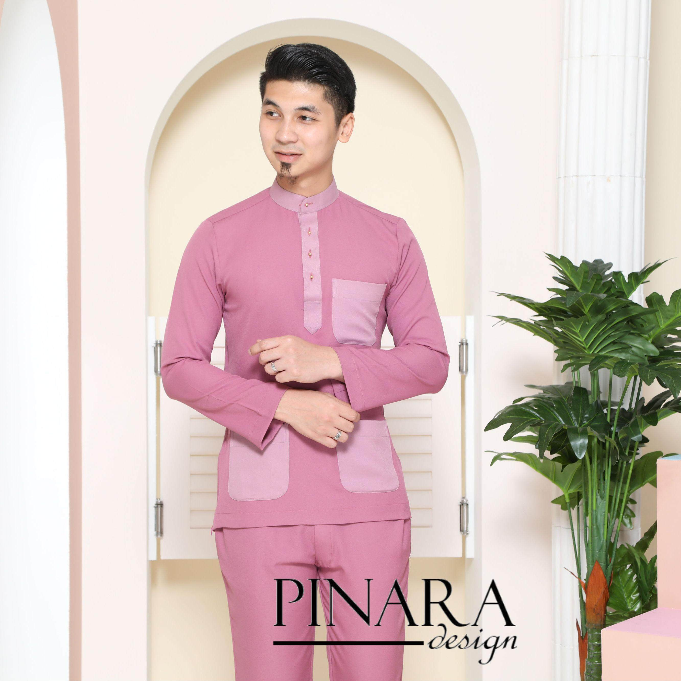 Baju Melayu Slim Fit (dusty Pink) By Pinara Exclusive.