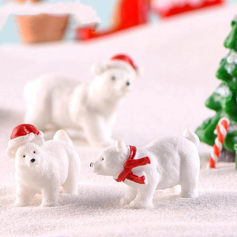 Blowing 3pcs Christmas Polar bear Gift Mini Figurine Crafts Ornament Miniatures Decor