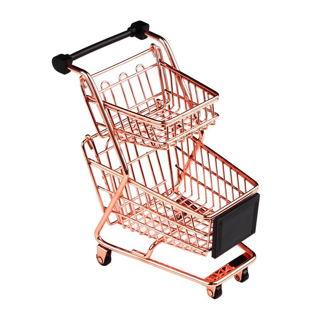 Mini Double Layers Shopping Cart Model Wrought Iron Supermarket Trolley Metal Rose Gold Storage Basket By Dragonlee.