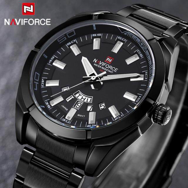 Naviforce Brand Men's Watches Commercial Quartz 30m Waterproof Watches Men's Stainless Steel Band Date Drivers Watch Relojes