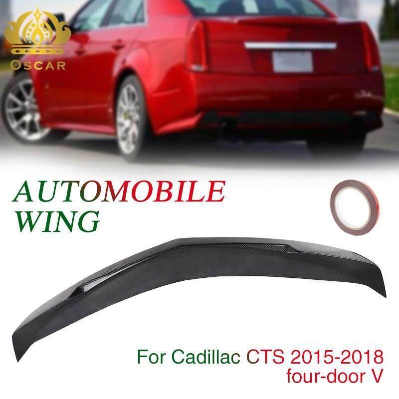 Oscar Toko Cadillac CTS Sedan 4 Pintu Serat Karbon 130*15*9 Cm V Style Batang Belakang Sayap Mobil tail Wing Spoiler Wing Aksesori Garis Hiasan Mobil Spoiler Dekorasi Potong Ekor Badan Dekorasi Mobil 4D Hitam