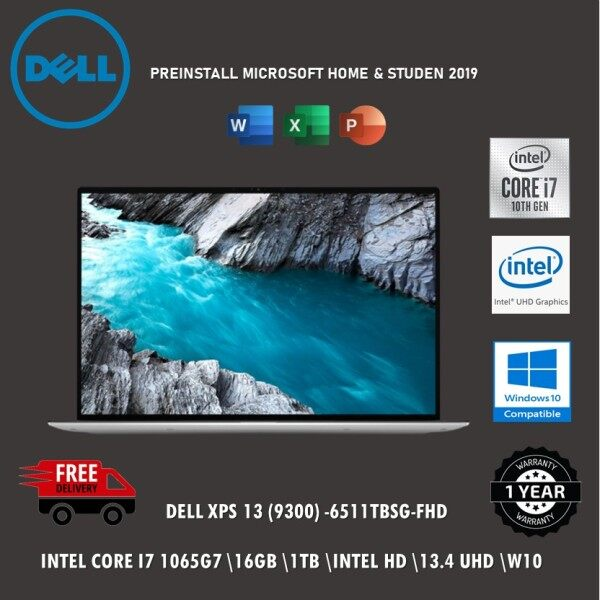 Dell XPS13 9300-6511TBSG-FHD 13.4 FHD Laptop Platinum Silver ( I7-1065G7, 16GB, 1TB SSD, Intel, W10, HS ) Malaysia