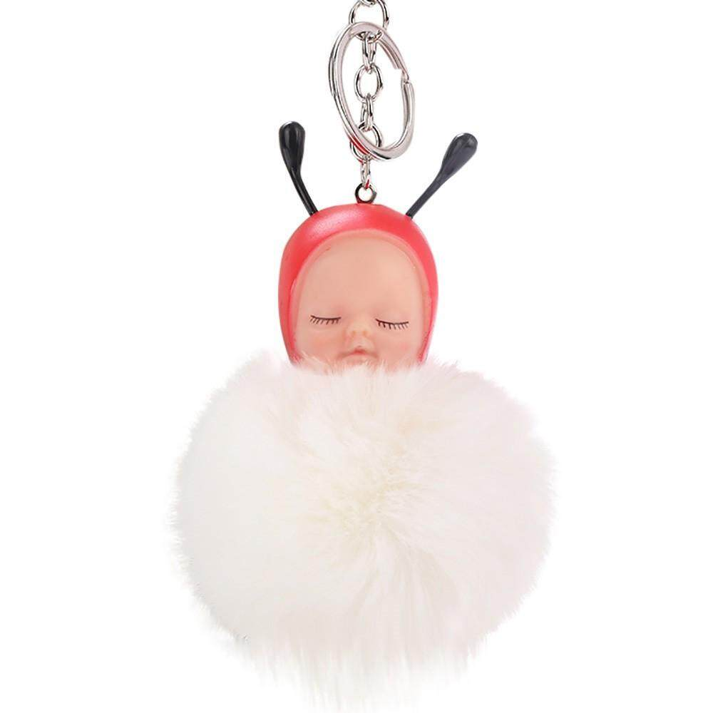 LiJiangangstore 2019 Cute Bee Baby Keychain Pendant Women Key Ring Holder Pompoms Key Chains Malaysia