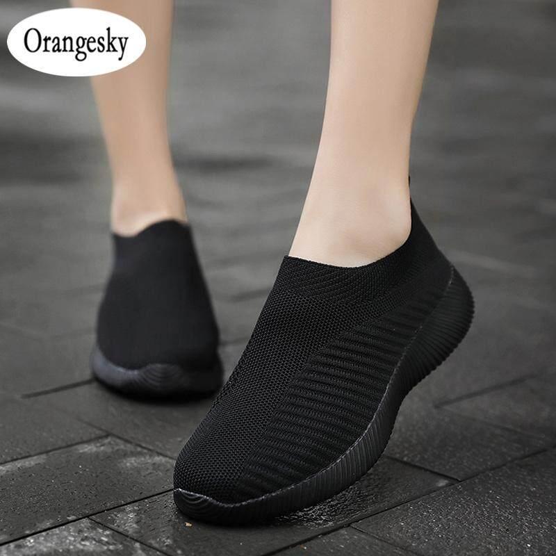 Orangesky Nữ Thoải Mái Trơn Đan Giày Lưới Thoáng Khí Đế Giày Tập Đi cho Mùa Hè Nhật Bản