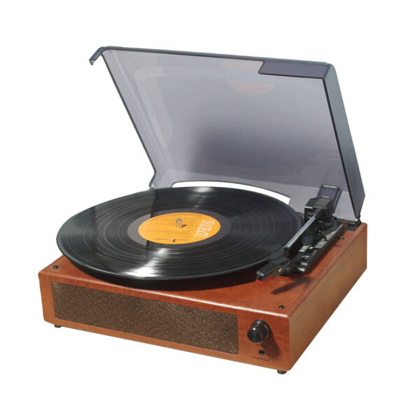 【Flash Deal】Portable Gramophone Vinyl Record Player Vintage Classic Turntable Phonograph with Built-in Stereo Speakers