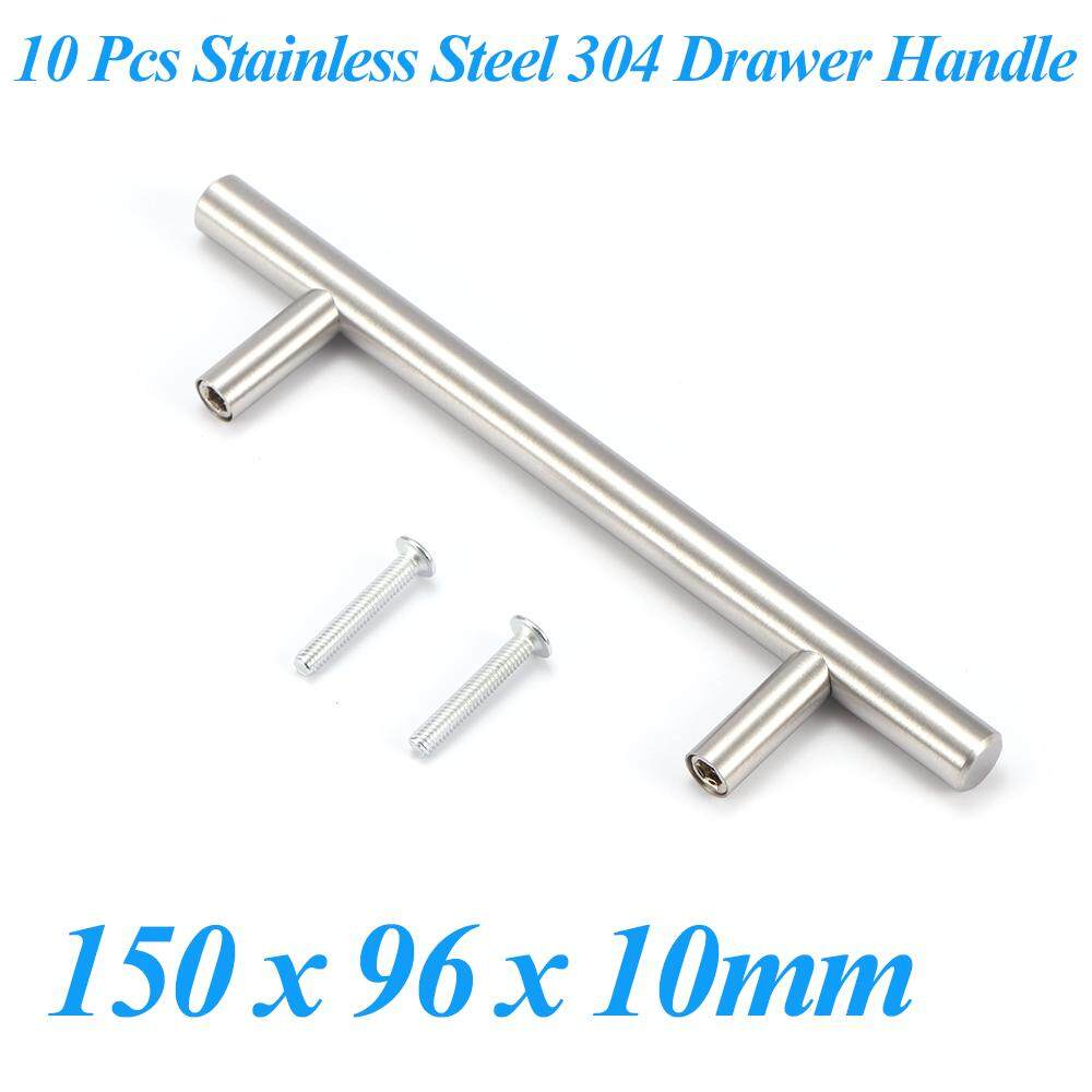 10 Pcs Stainless Steel 304 Furniture Kitchen Wardrobe Shoebox Cabinet Knobs Closet Door Drawer Pull Handles Hardware - Silvery