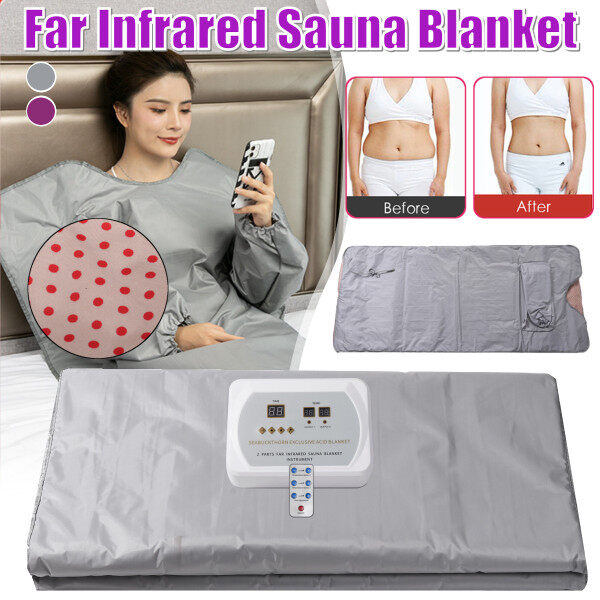 Buy Far Infrared Sauna Blanket Detox Machine Body Slimming Suit Home Spa Weight Loss Beauty Care Silver 220V Singapore