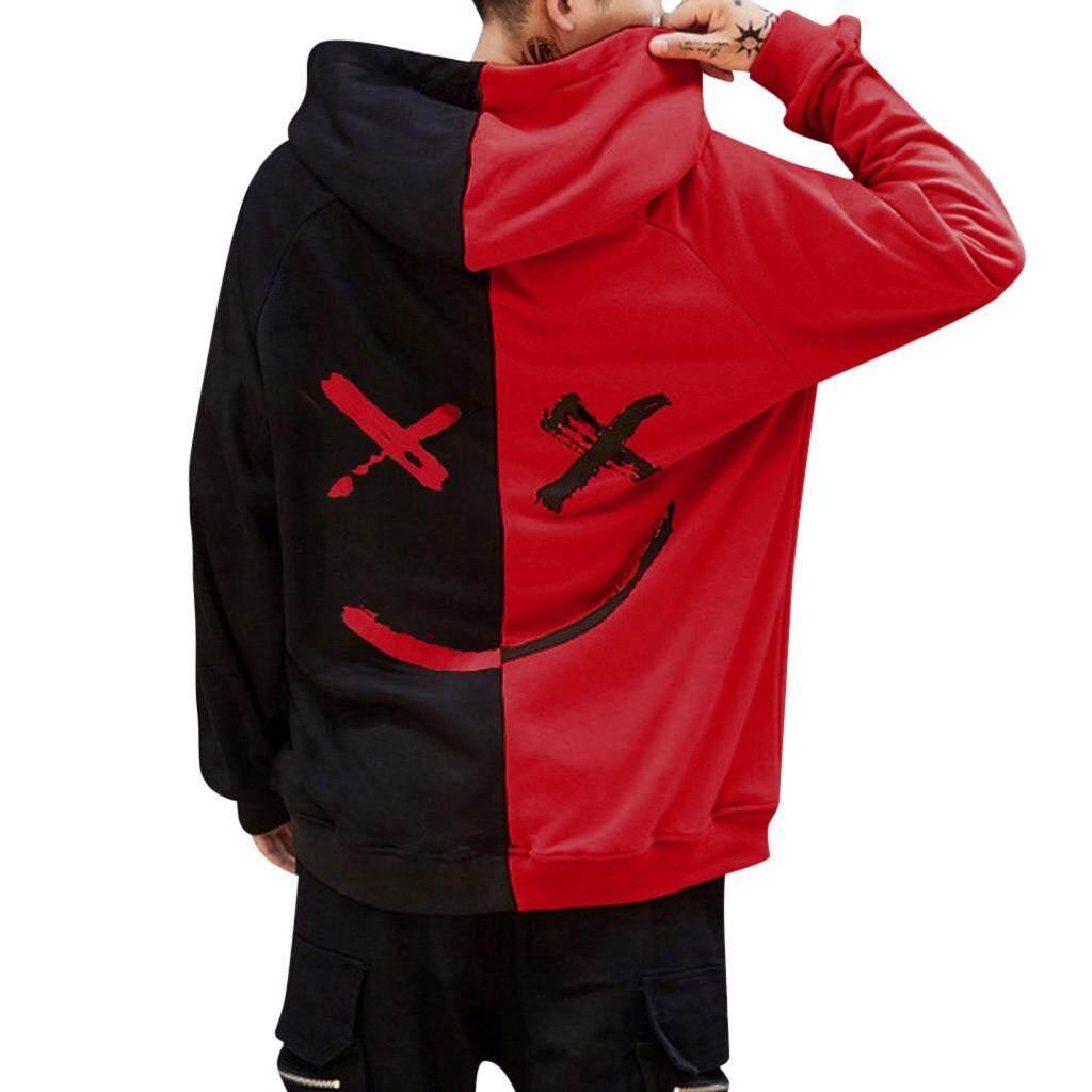 Lijiangangstore เสื้อแขนยาวมี Hoodie Hoodies Hood Jacket  เสื้อฮู้ด เสื้อฮูดผู้ชาย  Unisex Teens Smiling Face Fashion Print Sweatshirt Jacket Pullover Cod Gc.