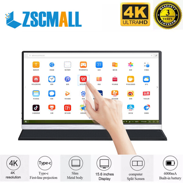 ZSCMALL Metal body Ultra-light and ultra-thin 4k Touch Screen portable lcd hd monitor 15.6 usb type c hdmi for laptop,phone,xbox,switch and ps4 portable lcd gaming monitor Malaysia