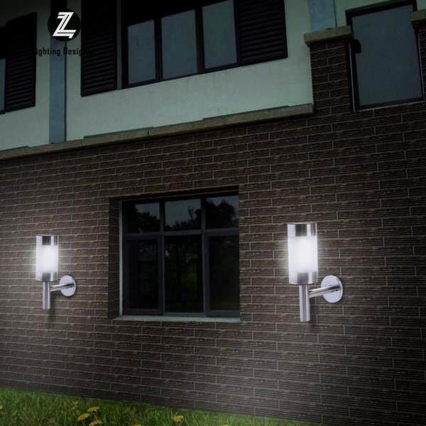 2 Đèn LED Treo Tường Chạy Bằng Năng Lượng Mặt Trời Bằng Thép Không Gỉ Hàng Rào Đèn Ngoài Trời Vườn LI