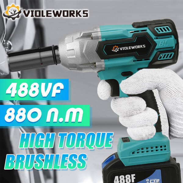 488VF 880 N.M Torque 1/2 inch Driver Brushless Electric Wrench Cordless Impact Wrench Cordless Drill with 22800 mAh Battery