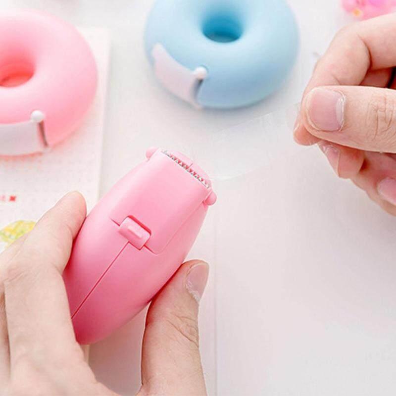 1XCartoon Tape Dispenser Stationery Portable Donut Tape Holder Invisible Tape HU