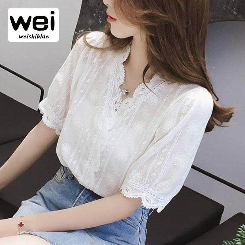 8fa1ab762506 WEISHIBLUE Ladies Shirt Large Size Flower Lace Tops Fashion Lace Blouse  Spring Summer Shirts New Arrival