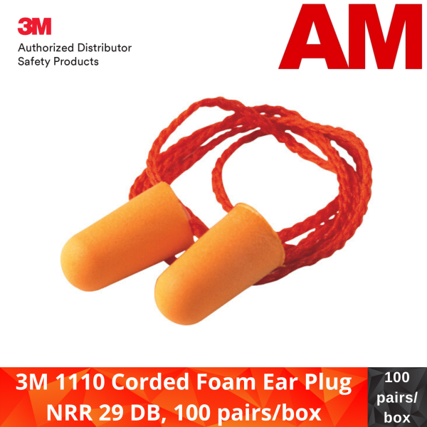 3M 1110 Corded Foam Ear Plug NRR 29 DB, 100 pairs/box