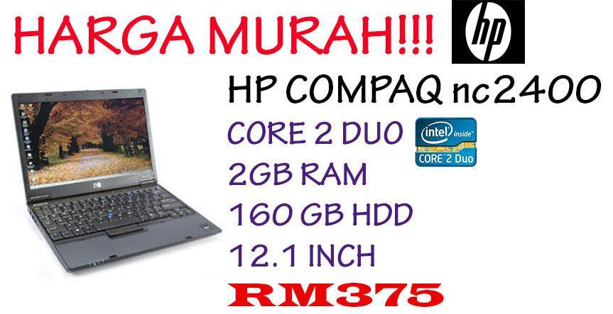 HP COMPAQ nc2400 INTEL CORE 2 DUO 2GB RAM 80GB HDD 12.1 INCH Malaysia