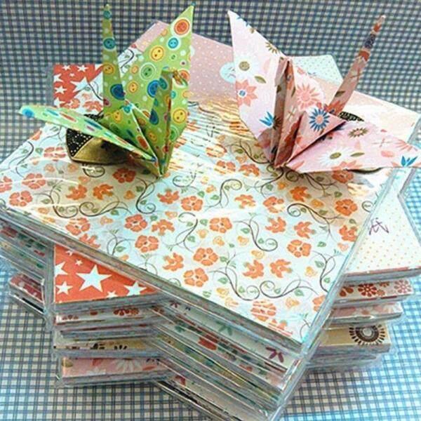 Mua JingJing Bán 70 tờ Vintage Hoa Giấy Xếp Hình Origami Trẻ Em Nghề Thêu Sò Giấy Trang Trí Hoa Giấy Tờ Màu Ngẫu Nhiên