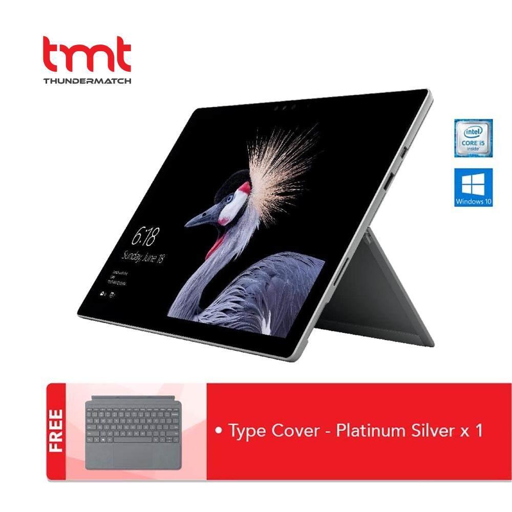 Microsoft Surface Pro 5 12.3  Commercial Set (I5-7300U, 8GB, 256GB, Intel, W10PRO) - 1 Year Warranty (FJY-00012) + Type Cover Platinum Silver Malaysia