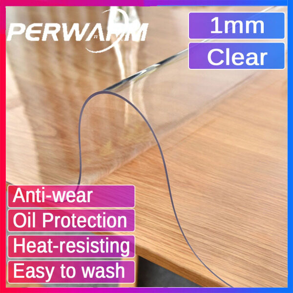 【1mm Clear Rectangle】PVC Waterproof Soft Glass Protector for Table/Desk Pads Covers 1/1.5/2/3mm All Graph Shape With Multi Size Customized