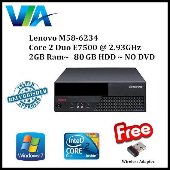 Refurb Lenovo M58-6234 C2D~2GB~80GB~Win7 Pro