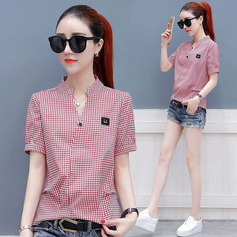 823f7669f1 Plus Size Tops Casual Short Sleeve Plaid Shirts Women 2019 New Summer  Blouses 100% Cotton