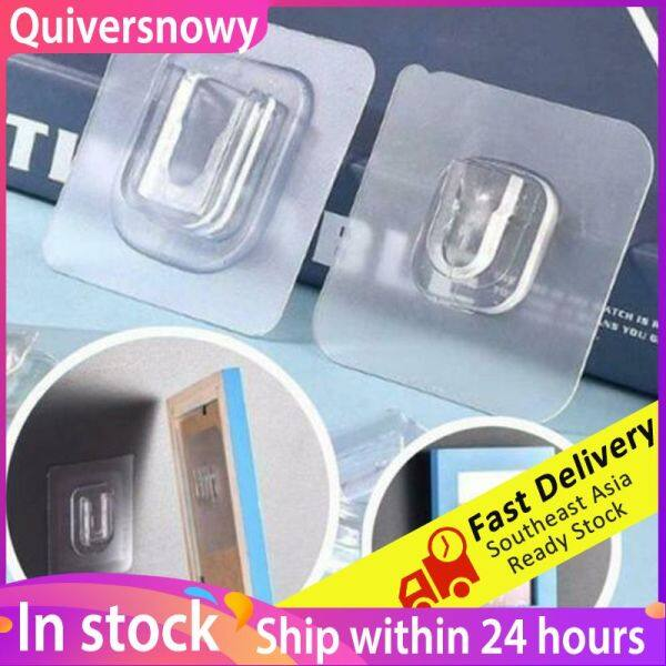 Quiversnowy【Tit Tok Hot】 5 Pairs Double-sided Reusable Adhesive Hooks,Transparent Heavy Duty Wall Hooks with No Scratch, Waterproof and Oilproof for Bathroom, Bedroom, Kitchen, Refrigerator Door, Wall and Ceiling