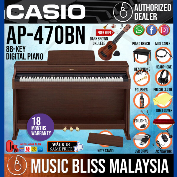 Casio AP-470 Celviano 88-Keys Digital Piano with Bench and Headphone - Brown (AP470) *Crazy Sales Promotion* Malaysia