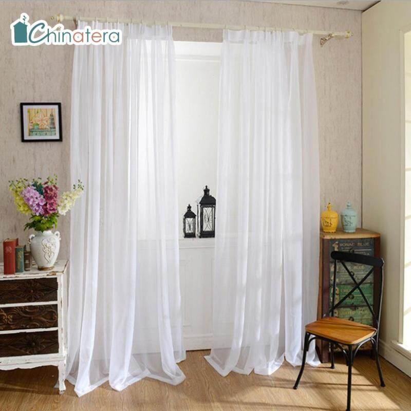 [Chinatera] Rèm Sợi Màu Trắng Trơn 100X250Cm Cửa Sổ Rèm Cửa Vải Tuyn Cho Phòng Khách