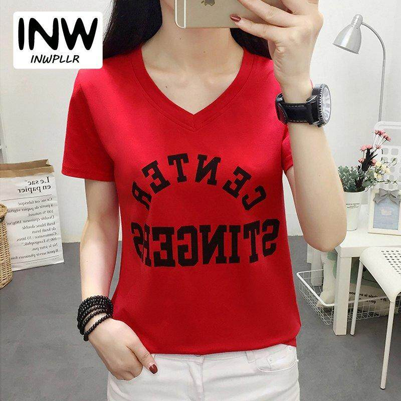 c0512d424761 INWPLLR New Arrival Short Sleeve Tops Letters Printed T-shirts Women's  Fashion V-neck